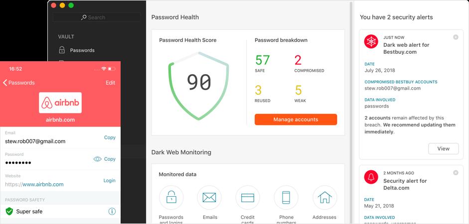 Dashlane Premium - Dashboard identità