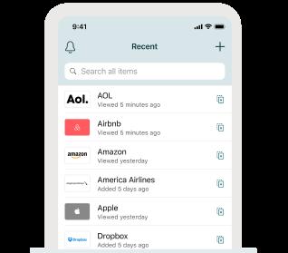Dashlane 앱을 보여주는 히어로 이미지 표시