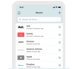 Afbeelding met functies Dashlane-app