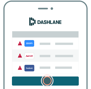 Example of Dashlane dashboard showing a list of compromised accounts