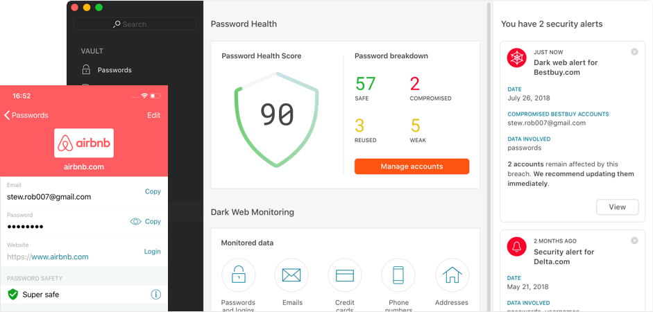 Dashlane Premium - Identity Dashboard